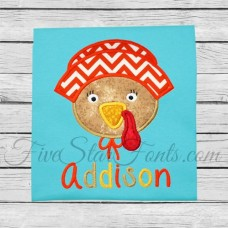 Girl Pilgrim Turkey Applique