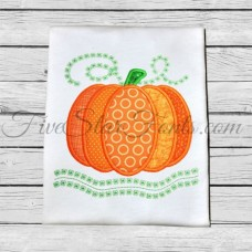Pumpkin Swirly Vines Applique