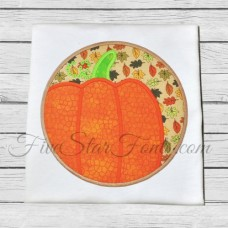 Pumpkin Circle Patch Applique
