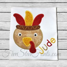 Turkey in Feather Headdress Applique
