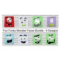 Fun Funky Monster Faces 8 Design Bundle