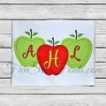 Trio of Apples Applique - Perfect for 3 Letter Monogram