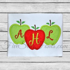 Trio of Apples Applique - Perfect for 3 Letter Monogram