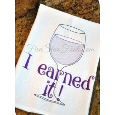I Earned It Sketch Wine Glass + Bonus Vintage Designs
