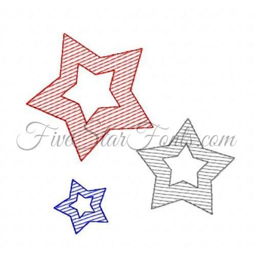 Trio Of Stars Sketch Quick Stitch Bonus Vintage Designs
