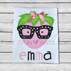 Adorkable Hipster Strawberry Applique