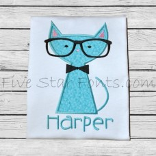 Cat in Glasses 1 Applique