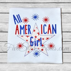 All American Girl Boy Patriotic Applique