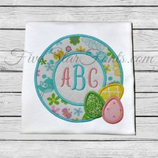 Easter Egg Circle Frame Applique