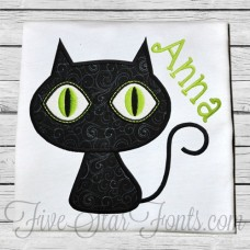 Cute Black Cat Applique