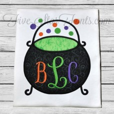 Witch Cauldron Applique for 3 Letter Monogram