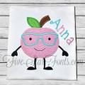 Apple Cutie in Glasses Applique