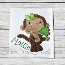 Shamrock Lollipop Monkey Applique for Girls