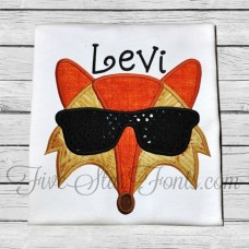 Cool Hipster Fox in Sunglasses Applique