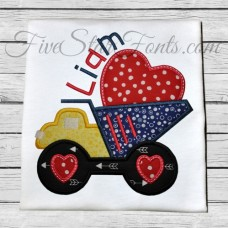 Haulin Love Truck Heart Applique