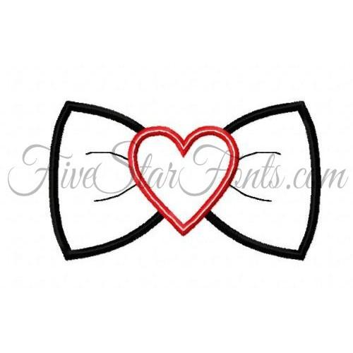 Heart Bow Tie Applique
