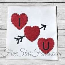 I Heart You Valentine Applique