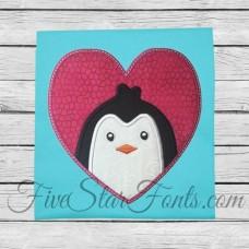 Penguin Heart Applique