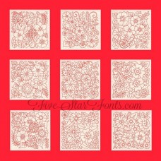 Flower Garden Redwork Blocks RW 10 Different Designs in 8 Sizes