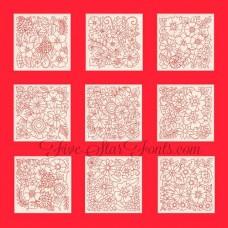 Flower Garden Redwork Blocks RW 10 Different Designs in 8 Sizes