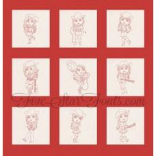 Redwork Cowgirls 10 Different Designs in 9 Sizes