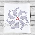 Dolphin Monogram Vintage Look Quick Stitch 6 Sizes