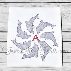 Dolphin Monogram Vintage Look Quick Stitch 6 Sizes