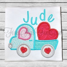 Valentine Truck 2 Heart Applique