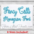 Fancy Calli Monogram Embroidery Font