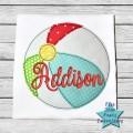 Beach Ball Bean Stitch Applique Design
