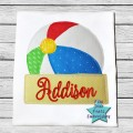 Beach Ball Banner Bean Stitch Applique Design