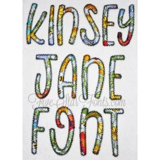 Kinsey Jane Applique Font Zig Zag and Bean Stitch included
