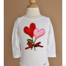 Heart Flowers Applique