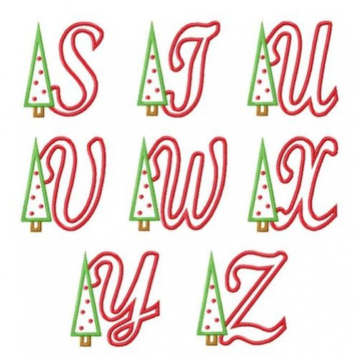 Christmas tree applique font for Christmas tree letters