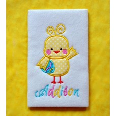 Chick Holding Egg Applique