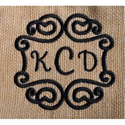 swirly 3 letter monogram frame