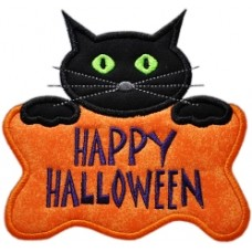 Purrrfectly Sweet Halloween Kitty Applique