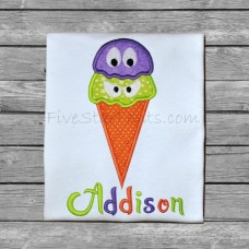 Halloween Ice Cream Cone Applique