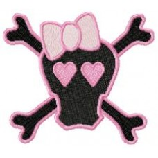 Pink Skulls Applique + Embroidery Designs Teen Goth