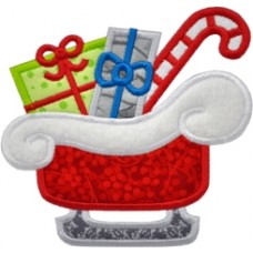 Santas Christmas Sleigh Applique