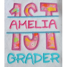 Split 1st First Grade Applique Back to School