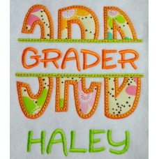 Split 3rd Third Grade Applique Back to School