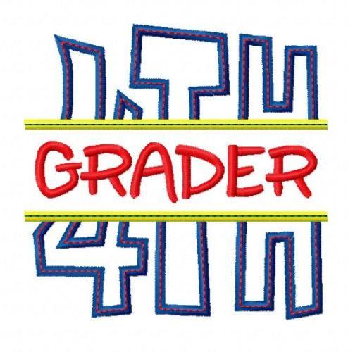 Split 4th Fourth Grade Applique Back to School