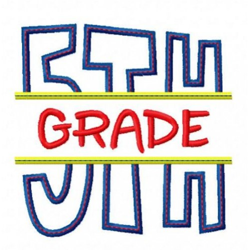 Split 5th Fifth Grade Applique Back To School