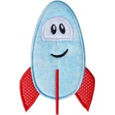 Whimsical Silly Rocketship Applique