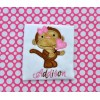 Valentine Monkey Applique Girl