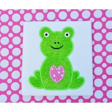 Sweet Heart Valentine Frog Applique
