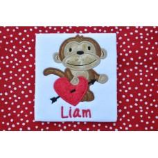 Valentine Monkey Applique Boy