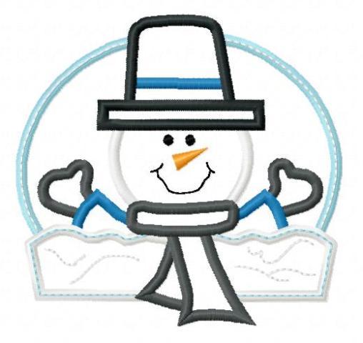 Happy snowman applique