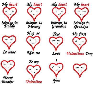 valentine heart sayings 11 design set
